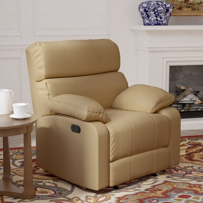 Mcneely Manual Rocker Recliner Leather Color: Beige
