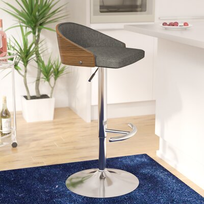 Morford Adjustable Height Bar Stool Upholstery: Gray
