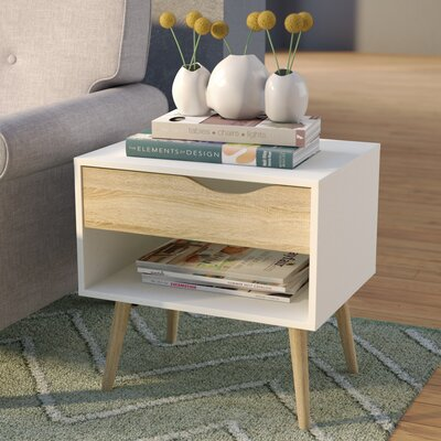 Zephyr 1 Drawer Nightstand Finish: White/Oak