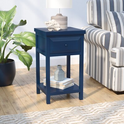 Maquoit End Table With Storage� Color: Indigo Blue Ink