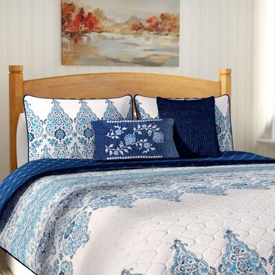 Carpentersville Quilt Set Color: Blue, Size: King