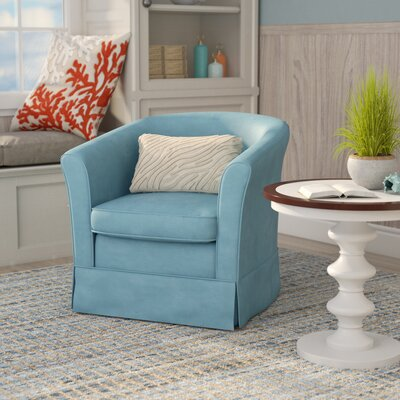 Sevan Swivel Barrel Chair Upholstery: Blue