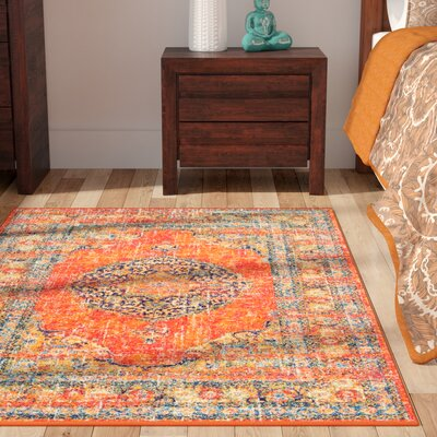 Pamela Orange Area Rug Rug Size: 4 x 6