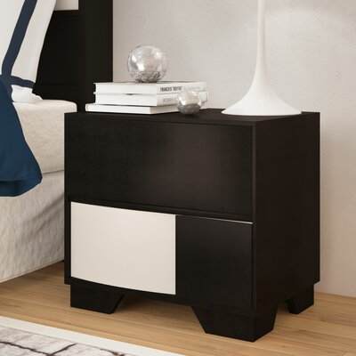 Dawna Wood Nightstand Color: Black
