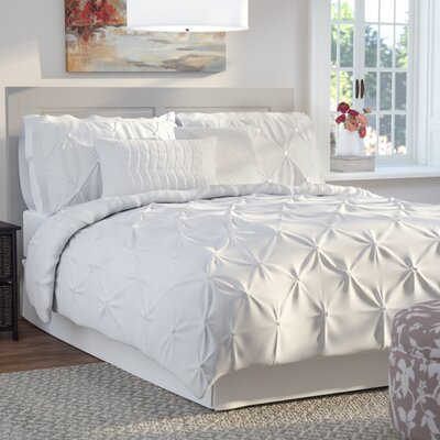 Byron 6 Piece Comforter Set Size: Queen, Color: White