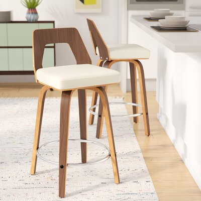 Emory 24 Swivel Bar Stool Upholstery: Cream