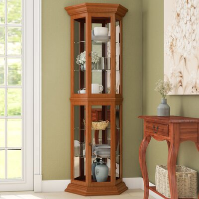 Hollingdon Lighted Curio Cabinet Color: English Oak
