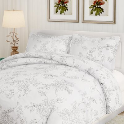 Jacob 3 Piece Duvet Cover Set Color: Gray, Size: Queen