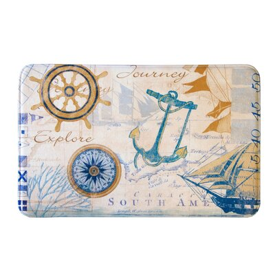 Eliza Plush Memory Foam Anti-Fatigue Coastal Beach Theme Bath Rug Color: Nautical, Size: 17 W x 24 L