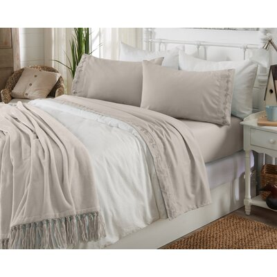 Great Bay Home Ultra Soft Double Brushed Microfiber Sheet Set with Embroidered Floral Pattern Size: Queen, Color: Silver Cloud