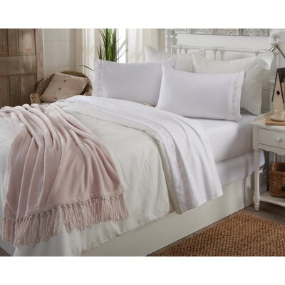 Great Bay Home Ultra Soft Double Brushed Microfiber Sheet Set with Embroidered Floral Pattern Size: King, Color: White