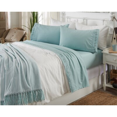 Great Bay Home Ultra Soft Double Brushed Microfiber Sheet Set with Embroidered Floral Pattern Size: Full, Color: Harbor Blue