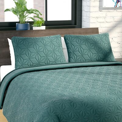 Cash 3 Piece Quilt Set Color: Green, Size: Full/Queen