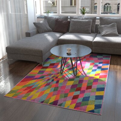 Oldsmar Pink/Green Area Rug Rug Size: Rectangle 5' x 8'