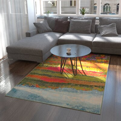 Laurentides Green/Red Area Rug Rug Size: Rectangle 5 x 8