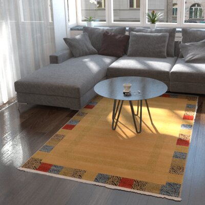 Jan Beige Color Bordered Area Rug Rug Size: Square 8