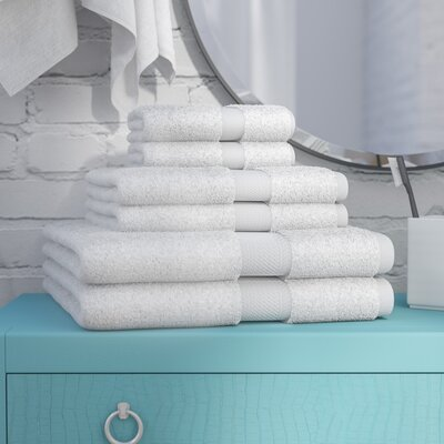 Cotton 6 Piece Towel Set Color: White
