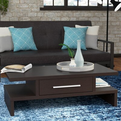 Wylie Rectangular 1 Drawer Coffee Table Color: Coffee Bean