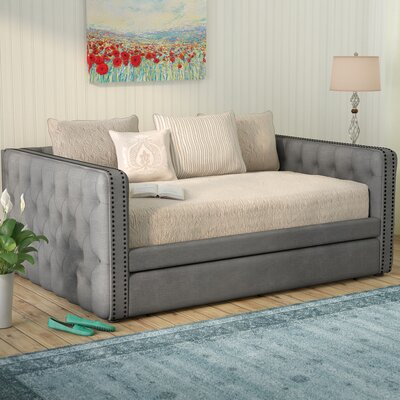 Scribner Button Tufted Linen Daybed with Trundle Color: Gray, Size: Queen