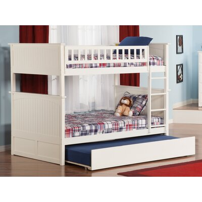 Abbie Full Over Full Bunk Bed with Trundle Bed Frame Color: White