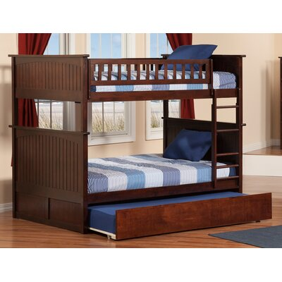 Abbie Full Over Full Bunk Bed with Trundle Bed Frame Color: Walnut