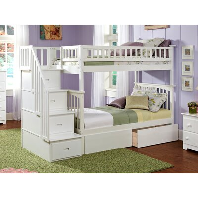 Abel Staircase Twin Over Full Bunk Bed with Drawers Bed Frame Color: White
