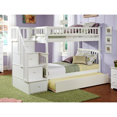 Abel Staircase Twin Over Twin Standard Bed with Trundle Bed Frame Color: White
