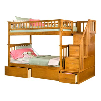 Abel Staircase Twin Over Full Bunk Bed with Drawers Bed Frame Color: Caramel Latte