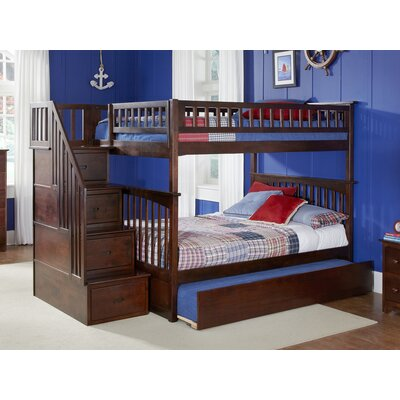 Abel Staircase Full Over Full Eco-friendly Bunk Bed with Trundle Bed Frame Color: Walnut