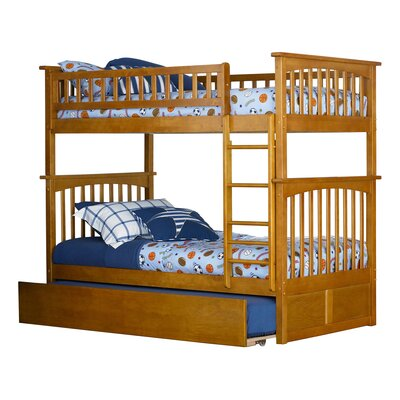 Abel Twin Over Twin Standard Bed with Trundle Bed Frame Color: Caramel Latte