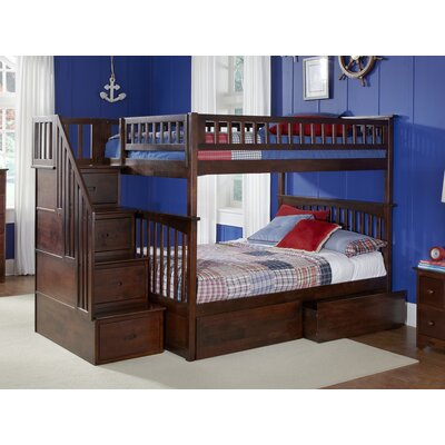 Abel Staircase Full Over Full Eco-friendly Bunk Bed with Drawers Bed Frame Color: Walnut