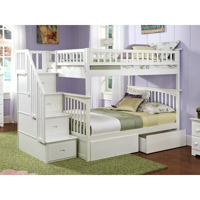 Abel Staircase Full Over Full Eco-friendly Bunk Bed with Drawers Bed Frame Color: White