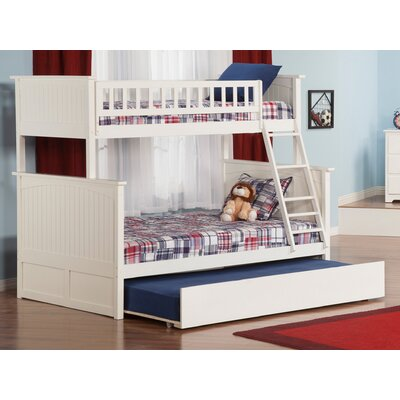 Abbie Twin Over Full Standard Bed with Trundle Bed Frame Color: White