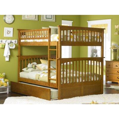 Abel Full Over Full Hardwood Bunk Bed with Trundle Bed Frame Color: Caramel Latte