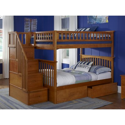 Abel Staircase Full Over Full Eco-friendly Bunk Bed with Drawers Bed Frame Color: Caramel Latte