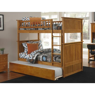 Abbie Full Over Full Bunk Bed with Trundle Bed Frame Color: Caramel Latte
