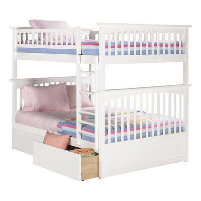 Abel Full Over Full Standard Bed with Drawers Bed Frame Color: White
