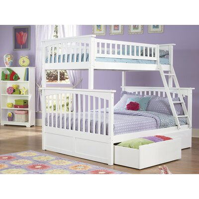 Abel Twin Extra Long Over Full Bunk Bed with Drawers Bed Frame Color: White