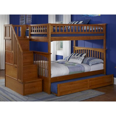 Abel Staircase Full Over Full Eco-friendly Hardwood Bunk Bed with Trundle Bed Frame Color: Caramel Latte