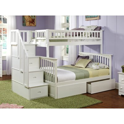 Abel Staircase Twin Extra Long Over Full Bunk Bed with Drawers Bed Frame Color: White