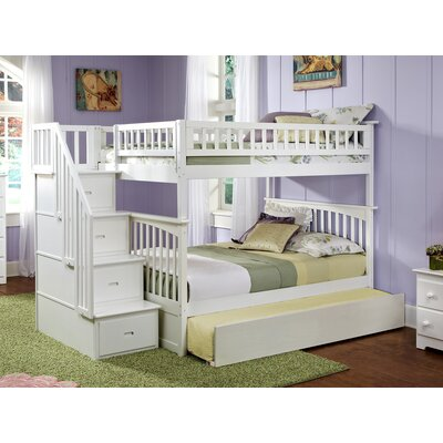 Abel Staircase Full Over Full Standard Bed with Trundle Bed Frame Color: White