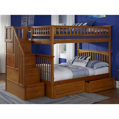Abel Staircase Full Over Full Bunk Bed with Drawers Bed Frame Color: Caramel Latte