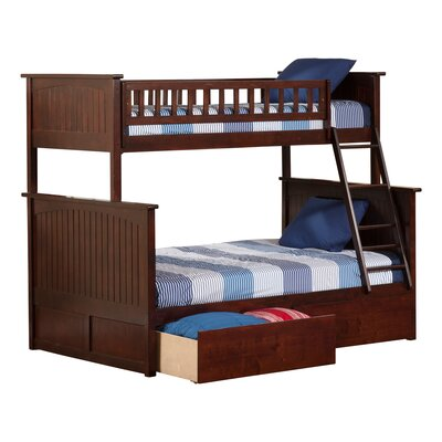Abbie Twin Over Full Standard Bed with Drawers Bed Frame Color: Walnut