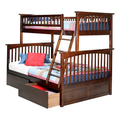 Abel Twin Extra Long Over Full Bunk Bed with Drawers Bed Frame Color: Walnut