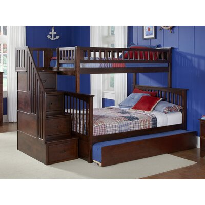 Abel Staircase Twin Extra Long Over Full Bunk Bed with Trundle Bed Frame Color: Walnut
