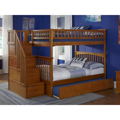 Abel Staircase Full Over Full Eco-friendly Bunk Bed with Trundle Bed Frame Color: Caramel Latte