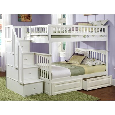 Abel Staircase Full Over Full Bunk Bed with Drawers Bed Frame Color: White