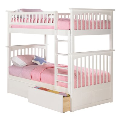 Abel Full Over Eco-friendly Full Bunk Bed with Drawers Bed Frame Color: White