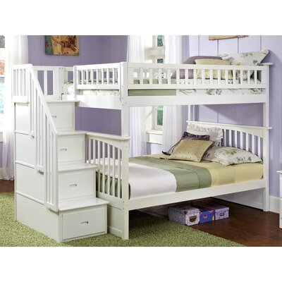 Abel Staircase Full Over Full Bunk Bed Bed Frame Color: White