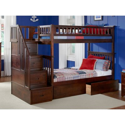 Abel Staircase Twin Over Full Bunk Bed with Drawers Bed Frame Color: Walnut